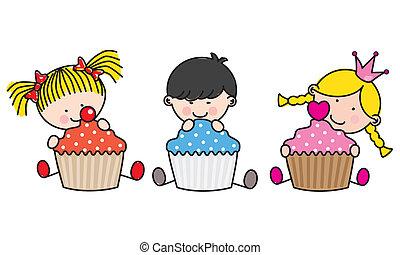 børn, cupcakes., farvet