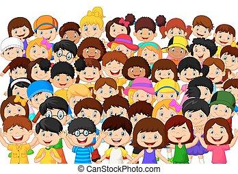 børn, flok, cartoon
