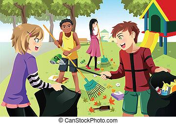 børn, frivillig