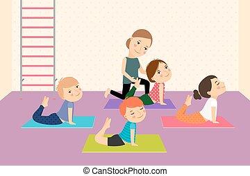 børn, instructor., yoga
