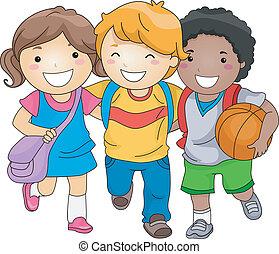 børn, kammerater, student