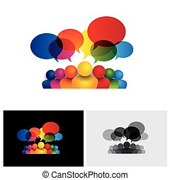 børn, medier, sociale, tales, vektor, ikon kommunikation, møde, eller, stab