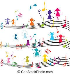 børn, notere, spille, bemærk, musik, musikalsk begavet