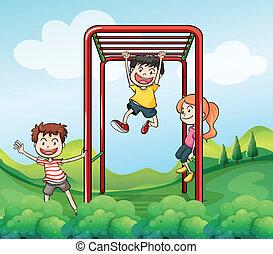 børn, park, tre, spille
