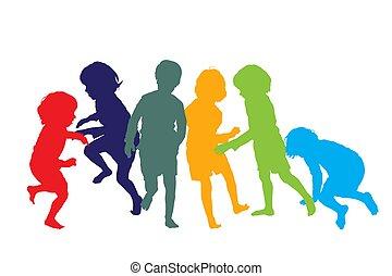 børn spille, 1, silhuetter