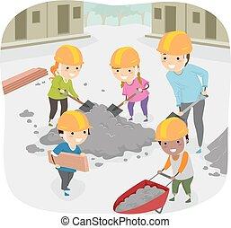 børn, stickman, hjælp, tjeneste, samfund, lærer