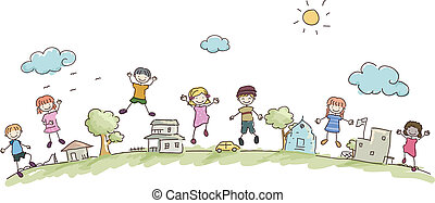 børn, stickman, samfund
