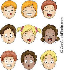 børn, udtryk, facial