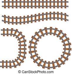 børste, vektor, tracks, jernbane, passager, eller, elementer, skinne, isoleret, beklæde, hvid baggrund, tog, jernbane