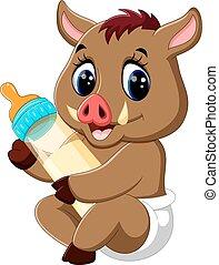 baby, boar, cartoon, vild