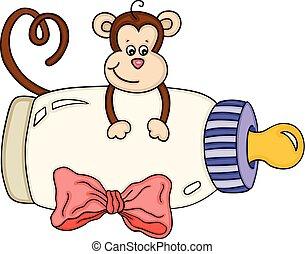 baby, cute, abe, flaske, mælk