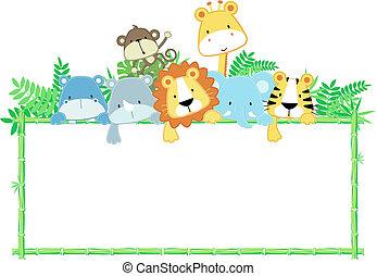baby, cute, ramme, dyr, jungle