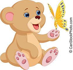 baby, cute, spille, bjørn, cartoon