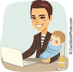 baby, far, arbejder