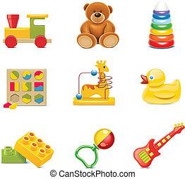 baby legetøj, icons., vektor, legetøj