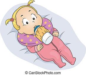 baby pige, considers, mælk flaske