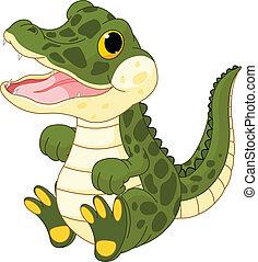 baby pige, krokodille