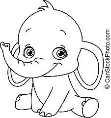 baby, skitseret, elefant