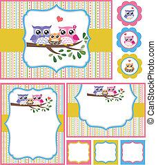baby, ugle, brusebad, card, illustration