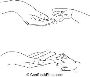 babys, håndflader, mødre, image, nå, hånd, vektor, dets