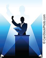 bag efter, silhuet, business/political, podium, taler