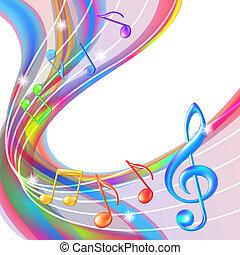baggrund., abstrakt, musik noterer, farverig