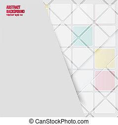 baggrund., abstrakt, vektor, kvadraterer, hvid
