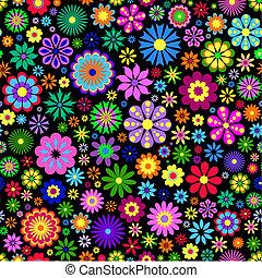 baggrund, blomst, sort, farverig