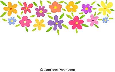baggrund., blomster, farverig, grænse