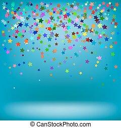 baggrund, farverig, stjerner, sæt, azur