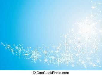 baggrund, festlige, abstrakt, sne, stjerner, skinnende, flakes.