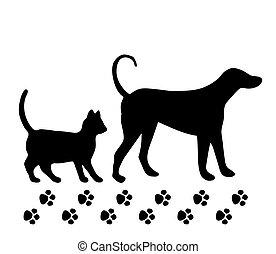 baggrund., hvid, vektor, hund, kat
