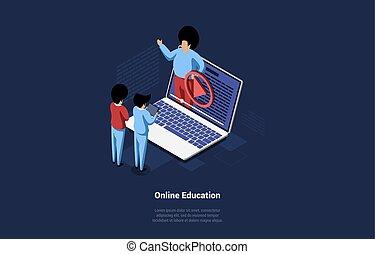 baggrund, iagttag, konstruktion, online, concept., mørke, isometric, objects., laptop, skærm, 3, illustration, to folk, undervisning, cartoon, style., tekst, vektor, uddannelses, video, komposition