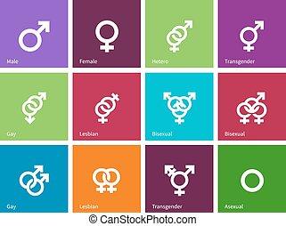 baggrund., identiteter, køn, farve, iconerne