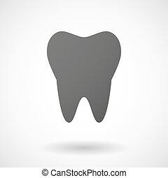 baggrund, ikon, tand, hvid