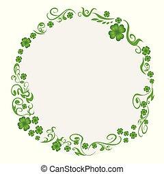 baggrund, kløver, cirkel, grønne