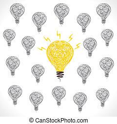 baggrund, kreative, pære, ide, nye
