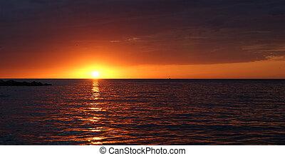 baggrund, ocean solnedgang, abstrakt