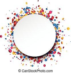 baggrund, omkring, confetti., farverig