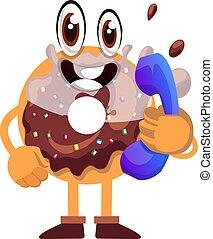 baggrund., telefon, illustration, donut, vektor, hvid