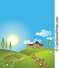 baggrund., vektor, grønnes landskab