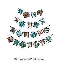 baggrunde, cards, girlande, blade, bunting, st.., plakater, patricks, dag, banners., kløver, konstruktion, flags., patterned, elementer, vektor, festlige