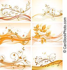 baggrunde, sæt, blomstrede, abstrakt