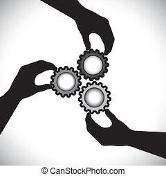 balance, dem, begreb, cog, og, graphic-, integrity., sync, samfund, 3, rotere, teamwork, enhed, vektor, illustration, holde, silhuetter, hjul, hånd, show