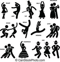 baldamen, dansende, pictogram