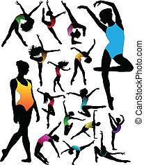 ballet, sæt, dans, silhuetter, v, pige