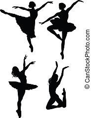 ballet, silhuetter