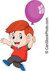 balloner, holde, barnet