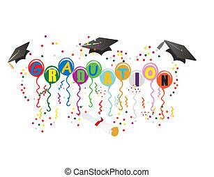 ballons, examen, illustration, fest