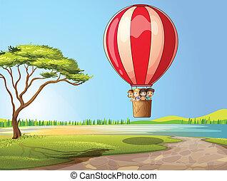 balloon, børn, luft